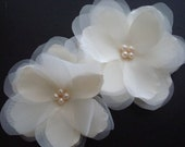 Anna Series- Double Ivory Organza Flowers