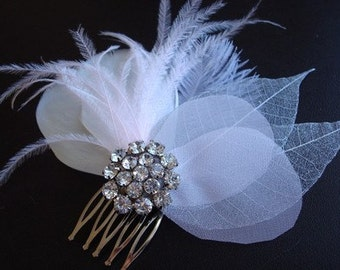 Liza- Grey and Light Pink Feather and Rhinestone Comb