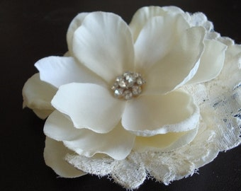 Elyse Series- Ivory Flower with Rhinestones and Vintage Lace