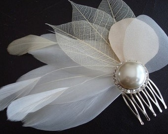 Champagne Toast- Ivory and Champagne Feather, Pearl and Rhinestone Bridal Comb