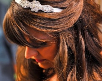 Claire Series- Rhinestone and Crystal Ribbon Headband