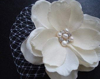 Isabella-Ivory Hair Flower with Rhinestones, Pearls and Birdcage Netting
