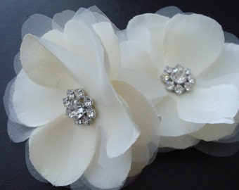 Caroline Series II-Set of Organza Hair Flowers with Rhinestones