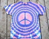 Groovy Peace Symbol Tie Dye Shirt - Adult (Medium) OOAK