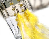 Vittoria - Yellow Rooster Feather Dangly Earrings