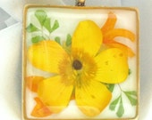 Yellow Buttercup Pressed Flower Pendant (145)
