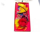 Sale! Modern Art in Flowers, Pressed Flower Pendant, Real Flowers, Resin (982)