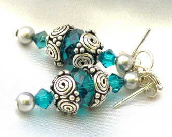 Teal Swarovski Crystal, Sterling Silver Earrings (5)