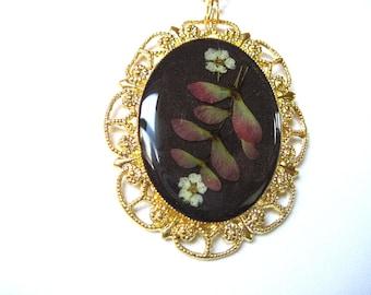 Maple Wings,  Pressed Flower Pendant, Real Flowers in Resin (776)