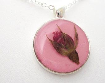 Rosebud on Pink,  Pressed Flower Pendant, Real Flowers in Resin, Pewter (911)