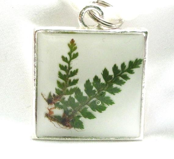Green Fern Pressed Flower Pendant