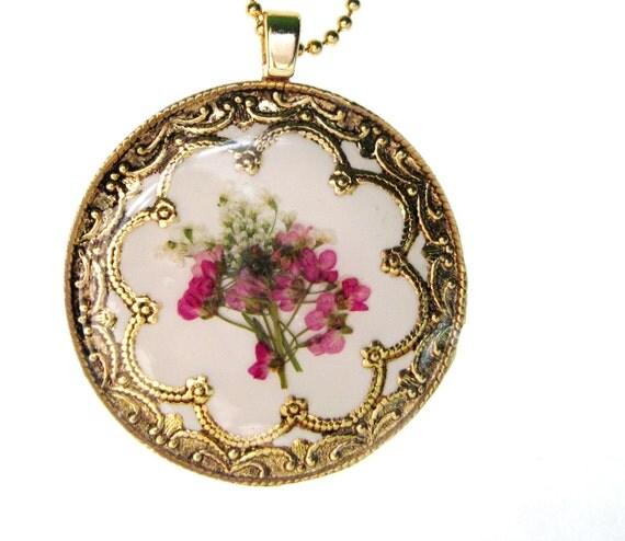 FLORAL BOUQUET,  Pressed Flower Pendant (396)