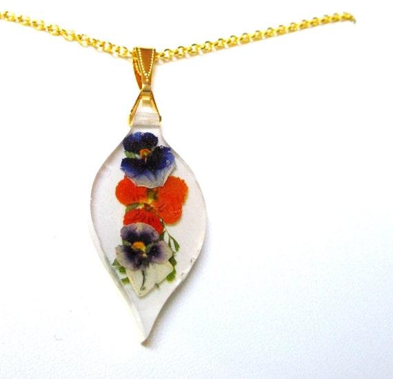Tiny Pansies, Pressed Flower Pendant (632) SALE