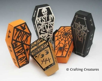 Halloween Gift Box - Coffin and Covers - Paper Gift Box Die Cutting with SVG files and PDF instructions for Silhouette and Cricut machines