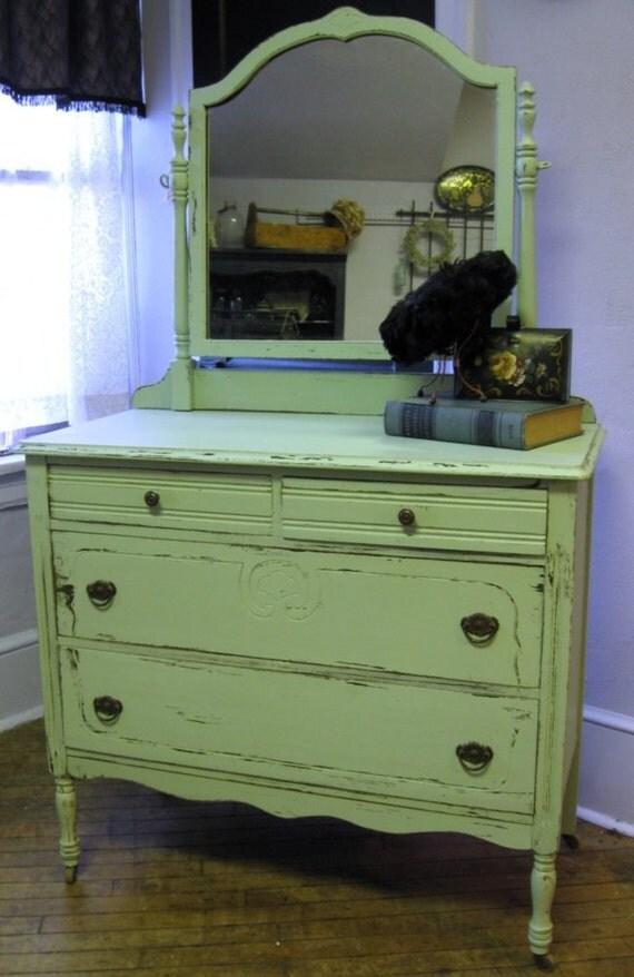 Creamy Green Dresser with Mirror