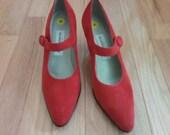 Vintage Liz Claiborne Red Suede Mary Jane Heels Size 8