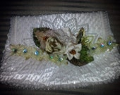 Vintage Beaded Ivory Purse Clutch with Ribbon Flower Embellishments