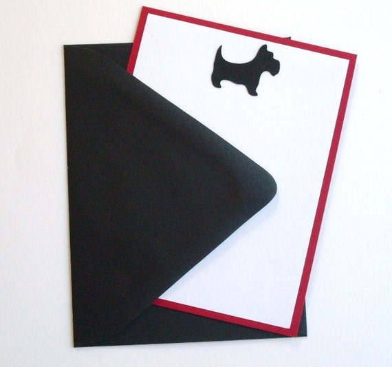 Set of 8 Scottie Dog Flat Notes plus FREE GIFT