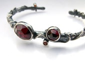 Branch Cuff Bracelet in Sterling Silver and Rose Cut Garnets - Ember and Frost Collection