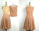 vintage 1940s skirt set / 40s dress -- pumpkin lace dress & full skirt (small)