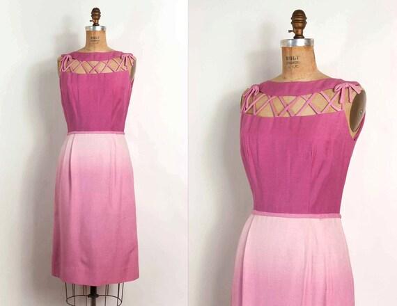 o n h o l d............vintage 1950s dress / 50s dress / pinky purple ombre linen dress (small)