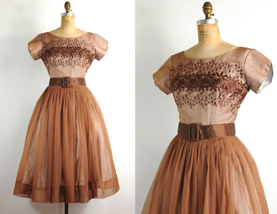 vintage 1950s dress / 50s party dress -- coffee brown & embroidered (small)