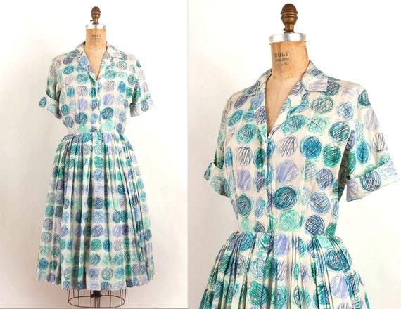 vintage 1950s dress / 50s mid century modern print silk shirtwaist dress (small)
