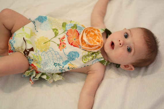 Spring Fling Ruffled Sunsuit with Flower Detail