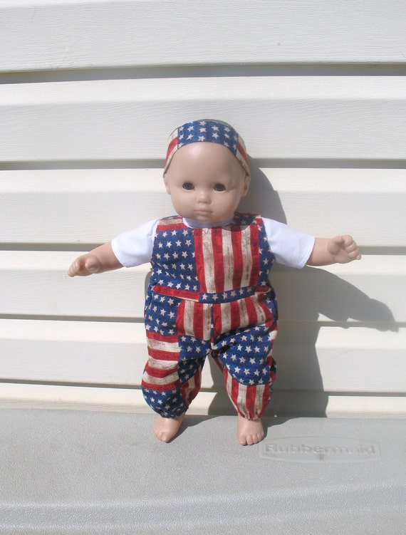 15 Inch Bitty Baby or Bitty Twin Baby Doll Clothes, Patriotic 4th of July Old Glory Picnic or Parade Overalls and White Shirt
