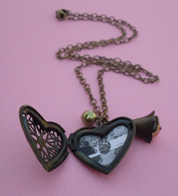 Personalized Photo Locket - Heart Shaped Antique Brass Locket Necklace with Your Custom Photo Placed Inside