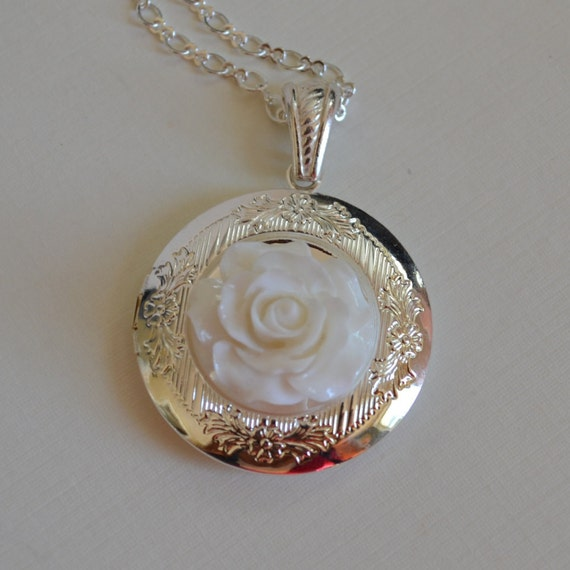 Betsy Locket - Silver Etched Locket Adorned with a White Open Rose - Your Custom Photo Placed Inside