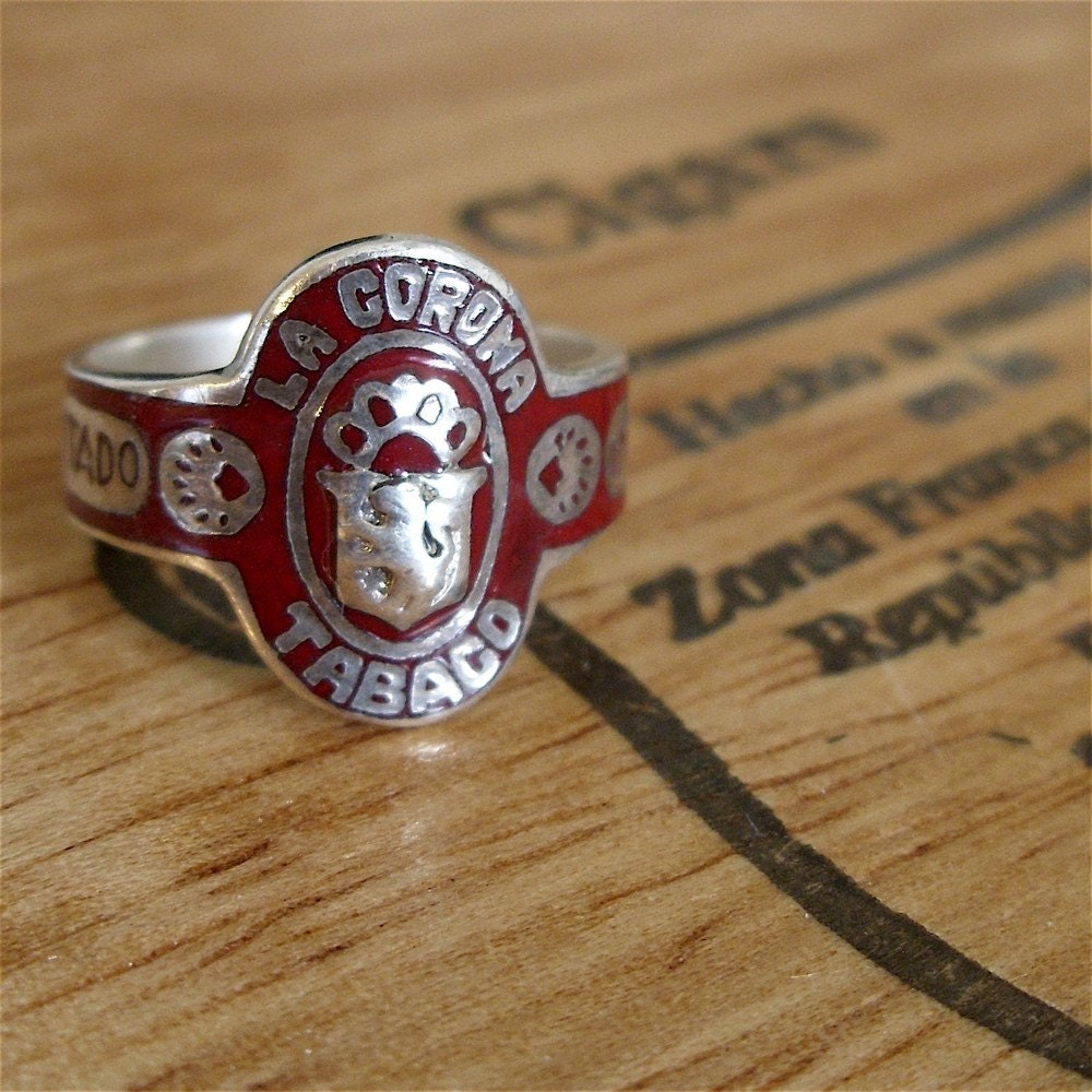 1940s cigar band ring vintage sterling silver and enamel