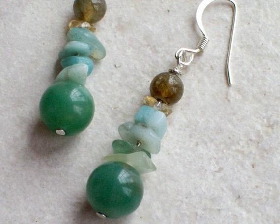 PERUVIAN Aqua Earrings Amazonite Beads and Labradorite with Citrine-Jewelry Earrings Boho Dangle Birthstone