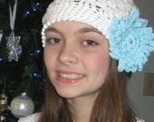 Crochet Hat With Flower Cloche Interchangeable Flower