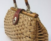 Vintage Wicker Straw Purse 1950s 1960s