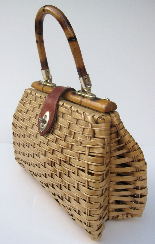 Vintage Wicker Straw Purse 1950s 1960s By Mycrochetgarden