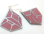 Trapezoid Shield Earrings - Pink & Silver