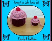 Yummy Cup Cake Purse Set. Crochet Patterns