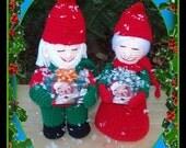 Mr & Mrs Gnome Christmas Shopper Dolls Crochet Pattern.