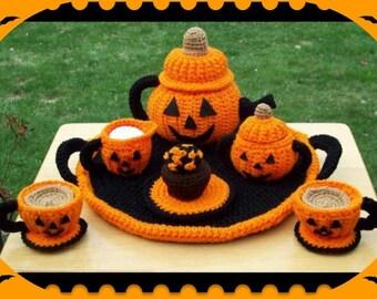 Jacko Lantern Pumpkin Halloween Party Tea Set Crochet Patterns