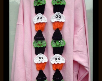 Witch And Ghost Cup Cake Scarf. Crochet Pattern. Make It Into Any Size You Need