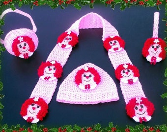 Raggedy Ann Scarf,Hat,Ear Muffs And Purse. Makes Into Any Size You Need.Crochet Pattern