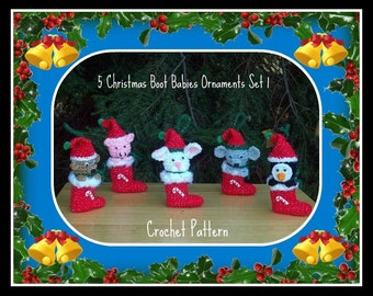 5 Christmas Boot Babies Ornaments Set 1.Crochet Patterns
