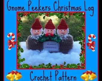 Gnome Peekers Christmas Log Crochet Pattern