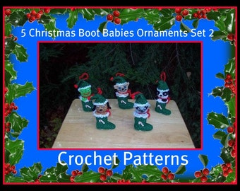 5 Christmas Boot Babies Ornaments Set 2.Crochet Patterns