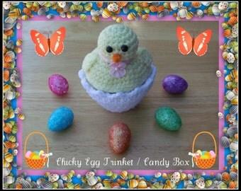 Chicky Egg Trinket / Candy Box Crochet Pattern