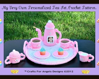 Make Your Own Personalized Tea Set.Make Sweet Memorries Of Your Child's Tea Party.Crochet Pattern