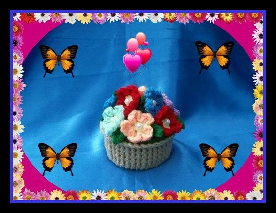 Flower Basket Gift Box Crochet Pattern