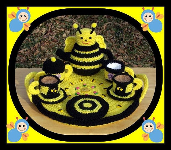 Busy Bee Tea Set Crochet Pattern