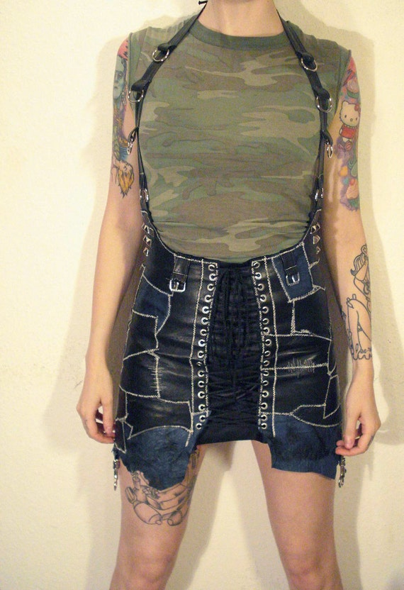 Kissin' Bombs high wasted patched leather skirt with studs and rings